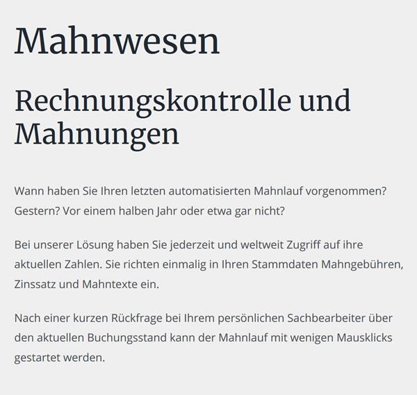 Steuerbüro für GmbHs, Mahnwesen